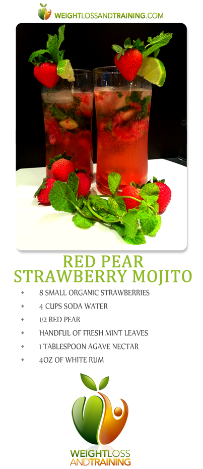 red pear strawberry mojito