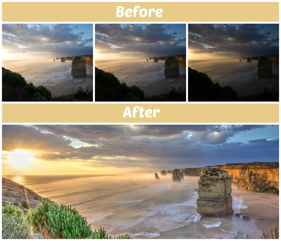 before and after HDR