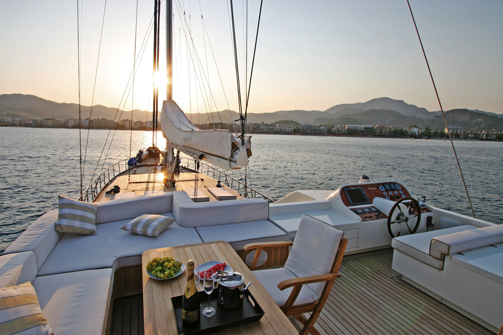 Gulet, sunset Bodrum, Turkey