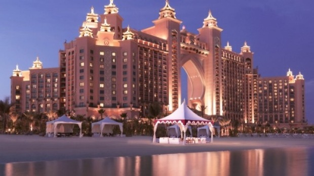 The 'Atlantis' is a 1539-room mega-resort that submerges guests in the mythology of a lost city.