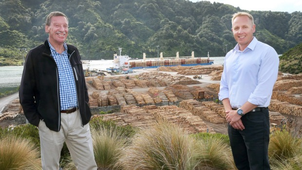 Port Marlborough's Ian McNabb, left, and Rhys Welbourn in front of Waimahara Wharf at Shakespeare Bay.