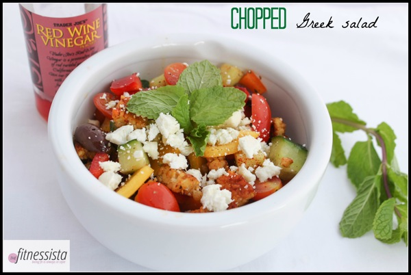 Chopped Greek salad - tempeh adds a protein boost to this healthy meal