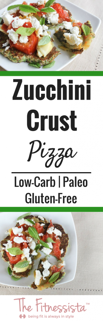 Zucchini crust pizza is a low-carb, Paleo-friendly way to satisfy your pizza craving. Great for a healthy lunch or dinner. fitnessista.com #zucchinipizza #zucchinipizzacrust #lowcarbpizza #paleopizza #glutenfreepizza