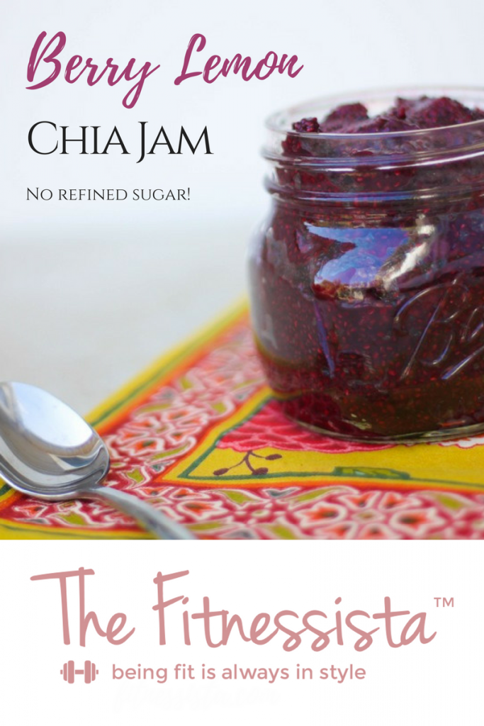 This chia seed jam is made with berries and lemons for a bright and zesty flavor. It's sweetened with healthy dates, so there's no refined sugar! fitnessista.com
