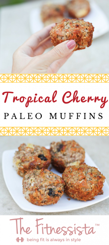 Tropical cherry paleo muffins are full of bright fruity flavor! Packed with healthy fats and fiber, they're perfect for breakfast or snack. fitnessista