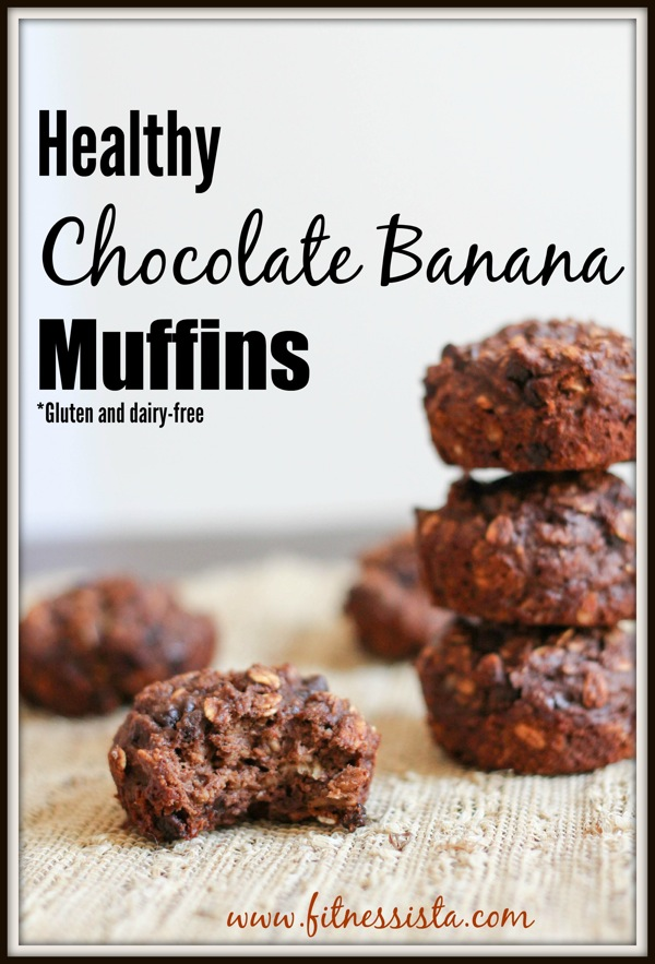 Healthy chocolate banana muffins - a delicious sweet snack - gluten-free, dairy-free fitnessista.com #healthymuffins #muffinrecipe #chocolatebananamuffins