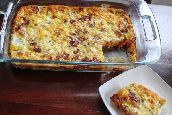 Turkey bacon goat cheese egg casserole