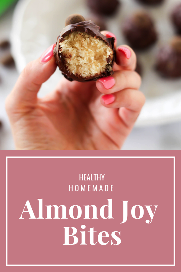 Healthy homemade almond joy bites