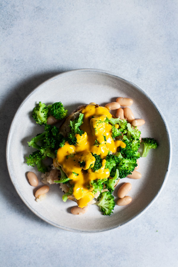 Easy Cheesy Vegan Loaded Potatoes with Broccoli & White Beans | The Full Helping
