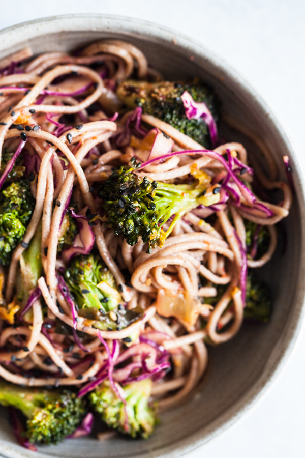 Roasted Broccoli & Kimchi Spicy Soba Noodle Toss | The Full Helping