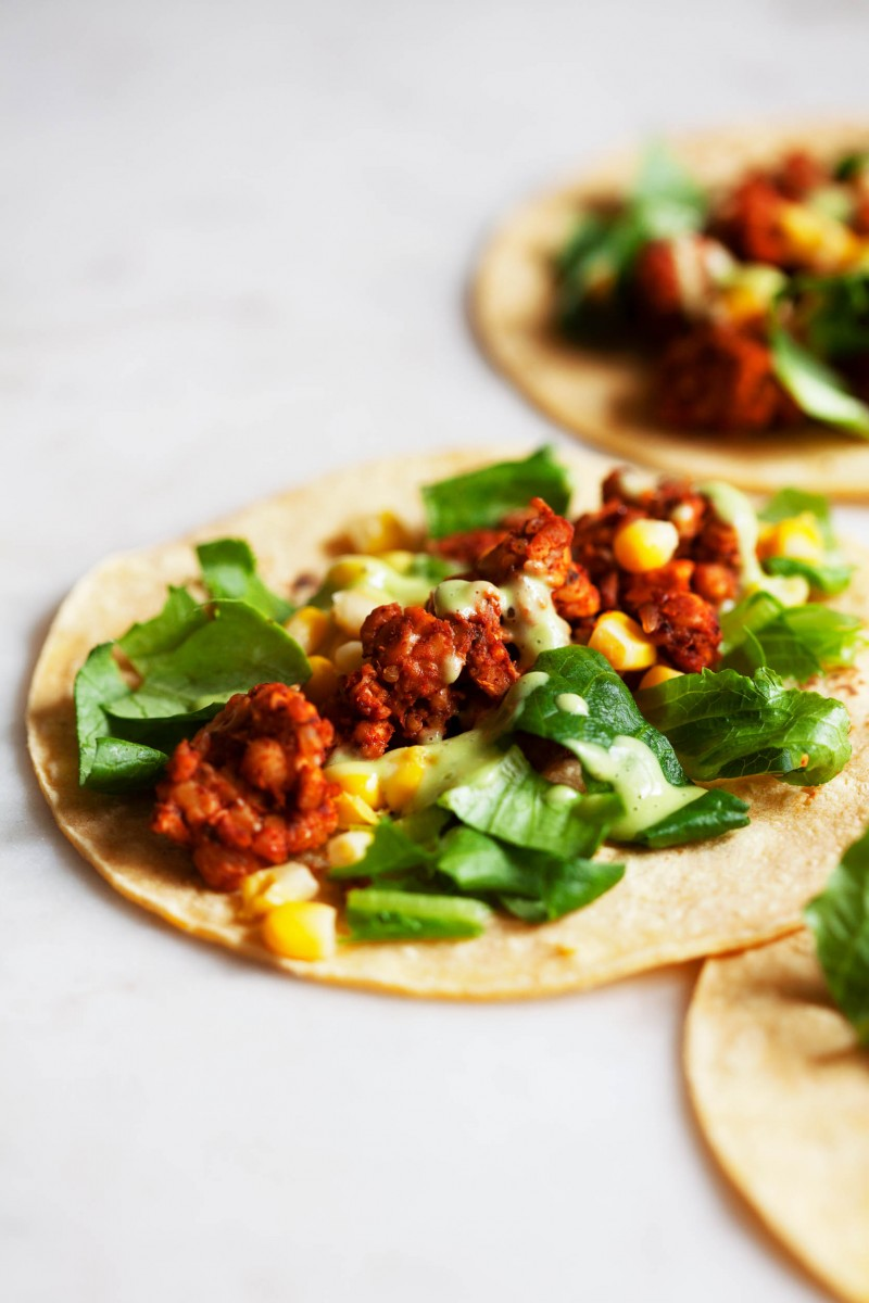 Vegan Chili Lime Tempeh Tacos | The Full Helping